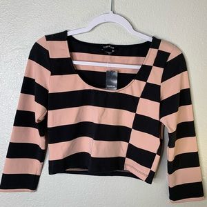 BEBE striped LS crop top